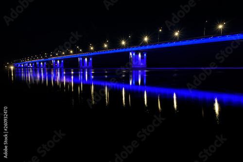 bridge river lights reflection ice drift night