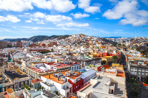 Las-Palmas Gran Canaria, Spain, on January 8, 2018. A view of the central part of the city from the survey platform of the cathedral - 260934437