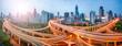 Quadro Shanghai Skyline Panorama mit Straßenkreuzung und Hochhäusern