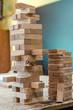 Leinwanddruck Bild - Wooden beech sticks for family game close-up