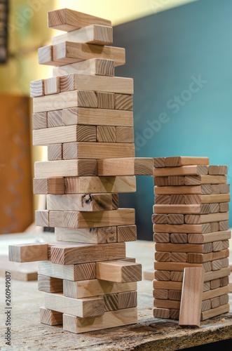 Leinwanddruck Bild Wooden beech sticks for family game close-up