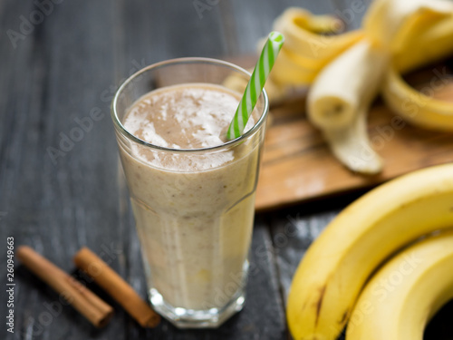 Banana smoothie for Breakfast with cinnamon and milk © pavelkant