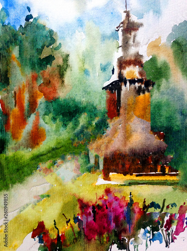 Watercolor colorful bright textured abstract background handmade . Mediterranean landscape . Painting of architecture and vegetation of the village , made in the technique of watercolors from nature