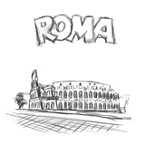 Roman Coliseum. Sight in Rome, Italy. Hand drawn vector sketch with Roma headline text.