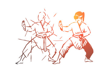 Martial, arts, fight, combat, training concept. Hand drawn isolated vector.