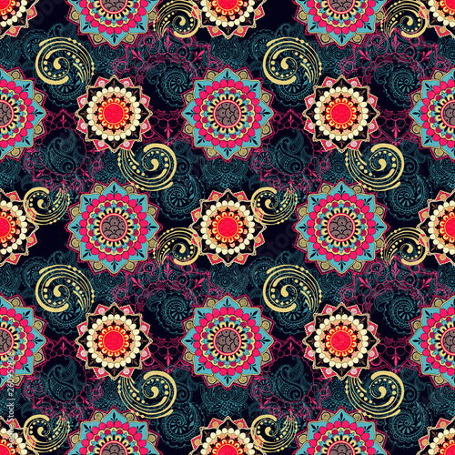Bright pattern in indian style. Seamless ornament on dark. - 260952829