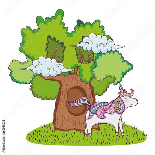 cute fairytale unicorn with tree