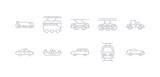 simple gray 10 vector icons set such as subway, suv, tanker, taxi, tow truck, train, tramway. editable vector icon pack