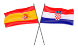 Spain and Croatia, two crossed flags isolated on white background. 3d image