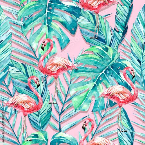 watercolor seamless pattern tropical summer. Flamingo, tropical leaves, branches for your design © Anna