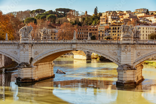 Vittorio Emanuele bridge in Rome - 260977046