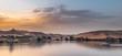 canvas print picture - Stimmungsvoller Sonnenuntergang am Nil, Assuan, Wüste, Symetrie, Landschaft, Bäume, Farben