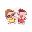 two funky cute pig illustration - 260994001