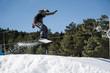 Snowboarder snowy jump