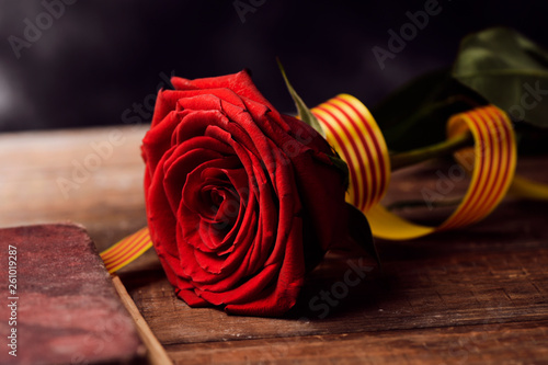 Leinwandbild Motiv book, red rose and catalan flag