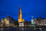 Market square and Cathedral of Our Lady in Antwerpen, Belgium.