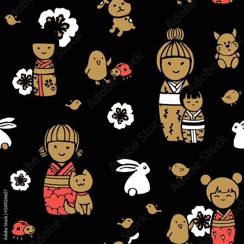 Seamless pattern in japanese style. Kokeshi dolls on a dark background. - 261026627