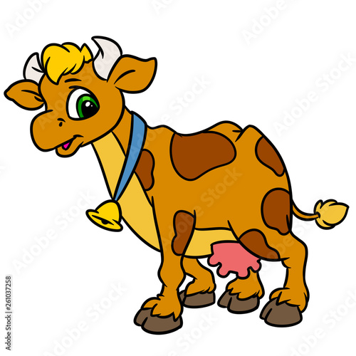canvas print picture Cow kind animal character cartoon illustration isolated image