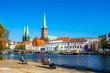 canvas print picture - Blick auf die Stadt Lübeck, Deutschland