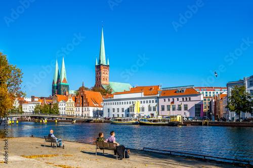 canvas print picture Blick auf die Stadt Lübeck, Deutschland
