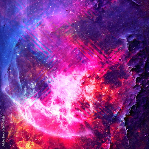 Abstract colorful space background. Stars of a planet and galaxy in outer space in a neon pink color. Space background and texture. Nebula in space. Modern digital art. Multicolor background. © ColdwordAbstract