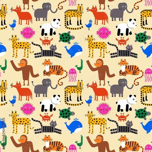 fototapeta na ścianę Animal pattern flat illustration
