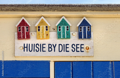 canvas print picture Verzierung an einem Strandhaus in den Niederlanden