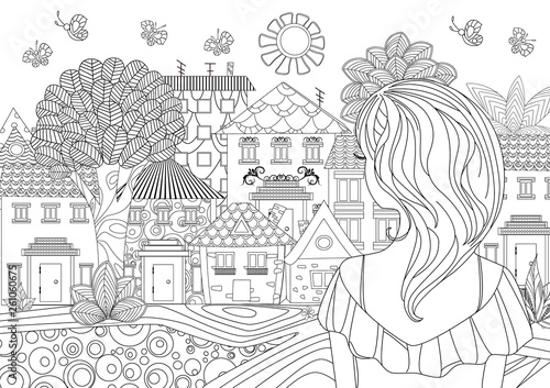 pretty girl looking at cityscape. coloring page - 261060675
