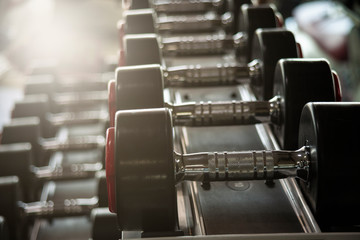 Rows of dumbbells in the gym for training equipment in fitness