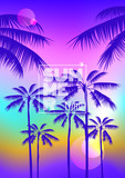 summer party poster placard design with palm trees silhouettes on sunset background - 261070286