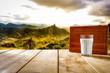 Leinwanddruck Bild - Desk of free space and fresh milk