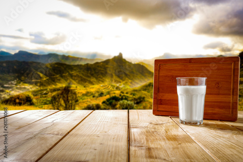 Leinwanddruck Bild Desk of free space and fresh milk