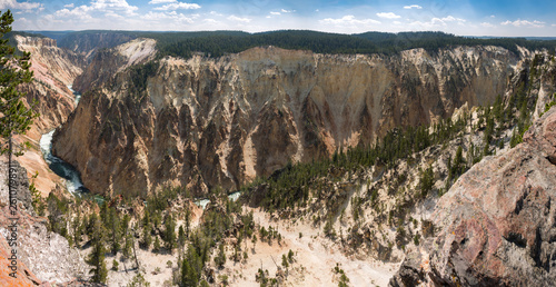 yellowstone river and falls ingrand canyon in Yellowstone National Park in Wyoming