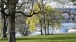 canvas print picture - jardin public en bordure du lac