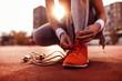 canvas print picture - Woman preparing for jogging