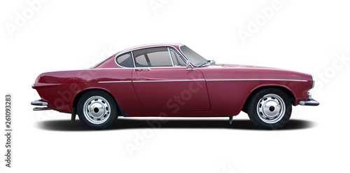 Classic Swedish sport coupe car isolated on white - 261093283