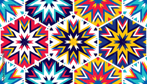 Abstract seamless pattern with hexagonal structure. Bright saturated colors for your design. - 261095058