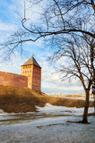 Veliky Novgorod Kremlin Palace tower in spring sunny day in Veliky Novgorod, Russia, evening view