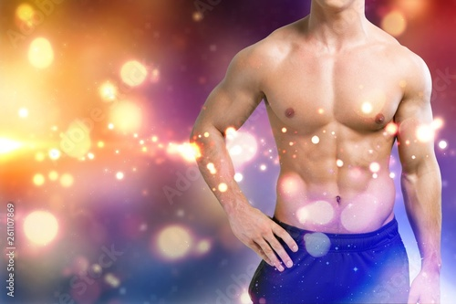 canvas print picture Cropped image of fit muscular body of sportsman