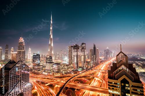 canvas print picture Burj Khalifa by night