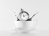 Clock and cup of coffee