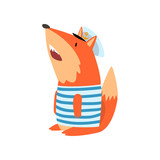 Fox Sailor Wearing Striped Singlet and Cap, Cute Humanized Animal Cartoon Character Vector Illustration