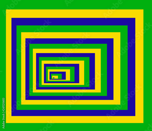 Optical background with striped color rectangles. Deep immersion, space tunnel, architectural corridor. Hypnotic multicolored texture, op art abstraction. © Divin