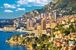 Leinwandbild Motiv Monaco cityscape and coastline colorful nature of Cote d'Azur view