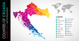 Vector map of Croatia and counties rainbow COLOR