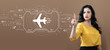 Airplane travel theme with business woman on a brown background