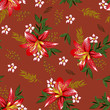 seammless branches with small flower pattern - 261142474