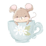 Cute little mouse in the cup