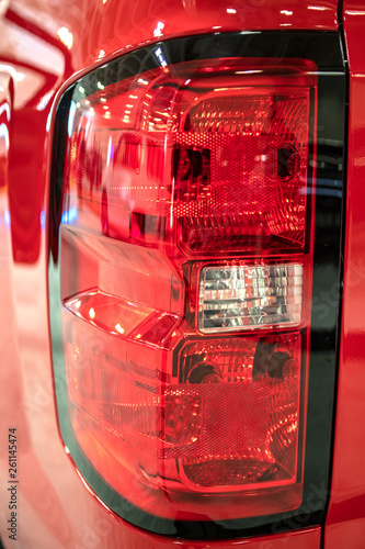 Car led tail lights. Detail of car exterior. - 261145474