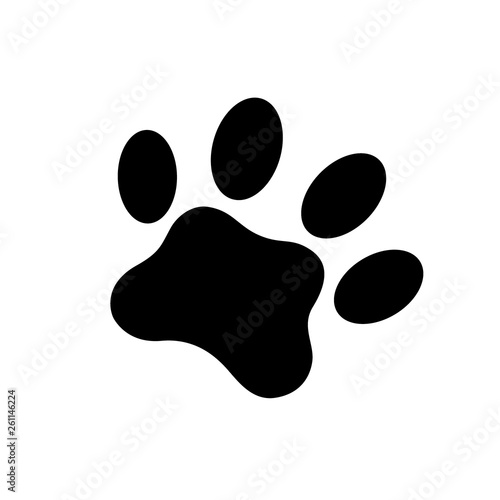 Cat footprint. Black Paw Prints. Vector illustration.